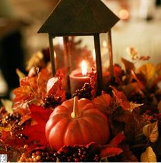 fall wedding centerpieces with lanterns | for a wow centerpiece this one takes the cake the use of pumpkins ...