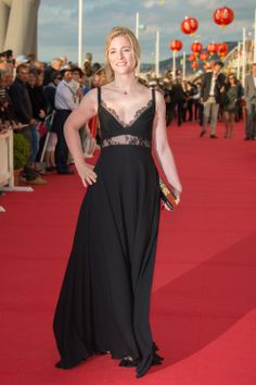 Natacha Regnier wears ELIE SAAB Ready-to-Wear Spring Summer 2014 to The 28th Cabourg Film Festival in France.