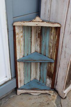 Hanging Corner Shelf - Home Decor - Hanging - Old Wood - Reclaimed Wooden Shelf - Rustic