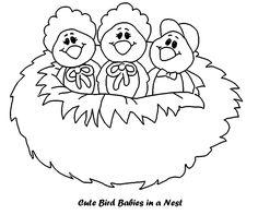 Cute Bird Nest Cartoon Coloring Page