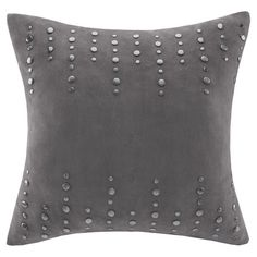 Studded Gray Pillow. Add a bold pop of style to your sofa or arm chair with this studded throw pillow, a lovely way to complement nailhead trim furniture.  ...