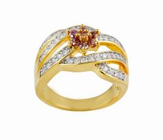 RODO LOOK  STONE & CZ GOLD PLATED RING FASHION JEWELRY 8.0 US NO. 10349ROG