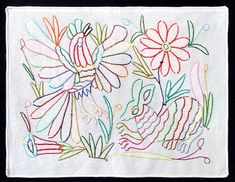 Nice Otomi embroidered textile from Tenango de Doria. Mexican Textiles, Mexican Folk Art, Coloring, Mexico, Tapestry, Embroidery, Nice, Animals, Design