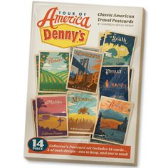 """Postcard Set (Denny's Tour of America) - A postcard collector's favorite! This 14-piece postcard set includes all 7 of the Denny's Tour of America poster designs—2 of each card, so you can keep one and send one to a pen pal! Each card measures 4.25"""" wide x 6"""" tall."""