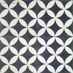 """Bathroom floor tile In Stock Cement Tile - """"Circulos Black"""" cement tile from Cement Tile Shop in Black and White"""