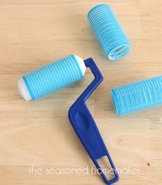 simple sewing room solution, cleaning tips, craft rooms, crafts, Add a bristly hair roller over the paint roller