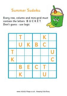 Puzzles and Summer Sudoku for Kids 6x6 - Activity Village