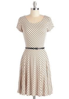 The Dot That Flounce Dress. Showcase your well-thought-out sense of style in this charming taupe-hued frock. #cream #modcloth