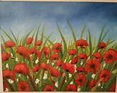 Original Art Oil painting of a poppy field.Landscape Painting -Original Fine Art on canvas- 36×46cm