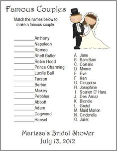 24 Personalized FAMOUS COUPLES Bridal Shower Game Each quantity of 1 is for 24 cards Each card measures x Printed on white cardstock paper Wedding Shower Games, Wedding Games, Shower Party, Wedding Ideas, Wedding Showers, Baby Shower, Wedding Fun, Wedding Stuff, Wedding Inspiration