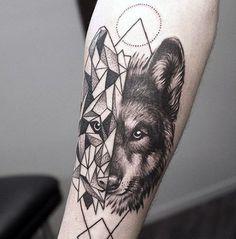 Mens Geometrical Wolf Tattoo On Forearm