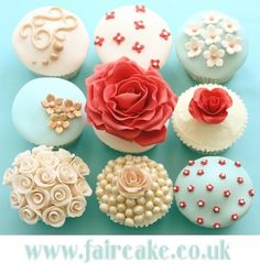 Wedding cupcakes - Wedding - Coral and Blue - Pearls - Flowers  @Beth J Wells