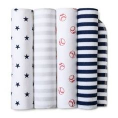 Welcome your future athlete home with the Navy Home Run Flannel Baby Blankets from Cloud Island™. These super soft cotton baby blankets will feel so good against your little all-star's smooth skin, and you can feel good knowing they're free from harmful substances. The four pack comes in classic red, white, blue and gray colors with stars, stripes and baseball patterns, so these flannel blankets will be at home in a sports themed nursery or wherever you are on the go.