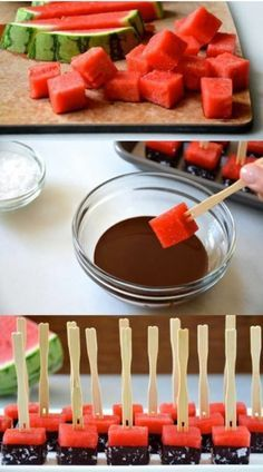 45 party finger food ideas: simple, quick and delicious! - watermelon party finger food ideas chocolate Informations About 45 Party Fingerfood Ideen: Einfach, - Party Finger Foods, Snacks Für Party, Fruit Snacks, Fruit Party, Fruit Kabobs, Party Desserts, Halloween Desserts, Summer Desserts, Appetizer Recipes