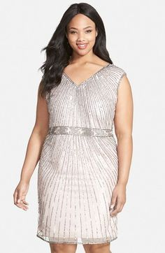 J Kara Beaded V-Neck Cocktail Dress