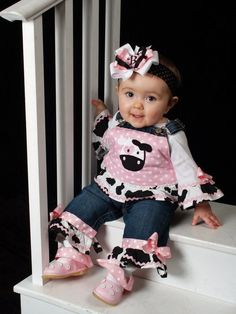 Cute COW Applique Monogram Decorated Ruffled by thesewprincess, $59.99