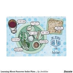 Learning About Passover Seder Plate - #Personalized_Placemat - This #Passover_placemat is a fun way #for_kids and guests to learn about what goes on a  #Pesach_Seder_Plate. Illustrated in cartoon style, each of the items are labeled, along with a plate of 3 Matzoh and a wine glass. The creamed green pea colored plates are set on a cheerful backdrop of light blue aqua bubbles. Option to personalize each mat you order at no extra cost!