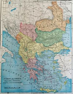 Map of the Balkans, 1902. From Cram's Atlas of the World.