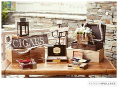 This suggests getting some cigar boxes for height variation at the cigar bar. Cigar Bar Wedding, Cigar Party, Wedding Favors, Our Wedding, Wedding Decorations, Wedding Ideas, Wedding Centerpieces, Whisky Bar, Cigars And Whiskey
