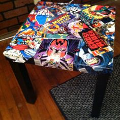 Marvel comic book end table