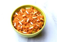 Carrot Halwa or Gajar ka halwa, also known as Gajrela, is a carrot-based sweet dessert from the region of Punjab, in the Indian subcontinent. It's consistency is somewhere between a fudge and a pudding. It is made by slow cooking grated carrots with milk and sugar, flavored with cardamom and saffron