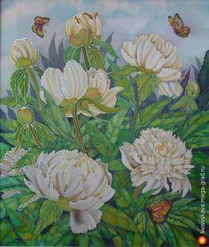 Белые пионы - батик, картины с цветами. МегаГрад - авторская ручная работа
