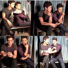 Matthew Daddario (wearing the M ring) & Harry Shum Jr. BTS of a 2017 Malec photoshoot for Shadowhunters Shadowhunters Tv Show, Shadowhunters The Mortal Instruments, Mathew Daddario, Grey's Anatomy, Magnus And Alec, Alec Lightwood, Clace, A Series Of Unfortunate Events, The Infernal Devices