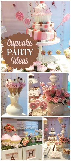 A fun cupcakes themed girl birthday party with lots of cupcake treats and decorations! See more party planning ideas at CatchMyParty.com!