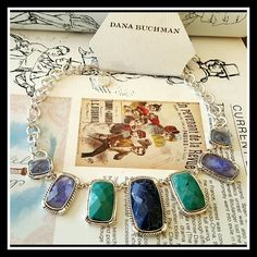 """JUST IN CHUNKY STATEMENT NECKLACE! Designer Faceted and colorful cobalt blue,turquoise & light blue clear cabs set into carved silver tone metal rectangles. Round polished chain link necklace measures 16"""" princess length with 2"""" extender.  Largest stone is 1 1/2"""" x 1"""" Dana Buchman Jewelry Necklaces"""