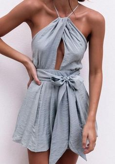 46040eab8de Grey Condole Belt Cut Out Tie Back Fashion Short Jumpsuit