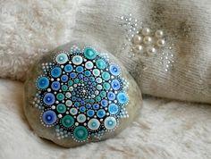 'Snowstorm' mandala stone by lPrimrose.deviantart.com on @DeviantArt
