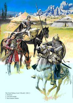 Huns. Illustration d'Angus Mc Bride..- CHAMPS CATALAUNIQUES 1) INTRODUCTION, c: La bataille des Champs catalauniques met fin à l'avancée extrême en Occident de l'Empire hunnique d'ATTILA, sous l'hégémonie des Huns des steppes, occupant les rives de la Volga vers 370 et établis durablement en Pannonie (actuelle HONGRIE) au début du V°s. La campagne d'Occident orchestrée par l'Empire hunnique se termine par une retraite précipitée.