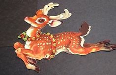 1 VINTAGE MADE IN USA CHRISTMAS REINDEER DIECUT CARDBOARD DECORATION CUTOUT #1