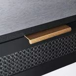 Woven Drawer Console Table Black - Threshold™ Designed With Studio McGee : Target Black Entryway Table, Pull Out Drawers, Studio Mcgee, Black Floor, Furniture Hardware, Buffets, Particle Board, Inspired Homes, Simple Style