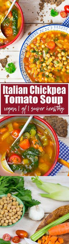 This Italian chickpea soup with tomatoes and spinach makes such a great vegan dinner! It's incredibly, healthy, packed with protein, and so comforting! One of my favorite vegetarian recipes for fall!