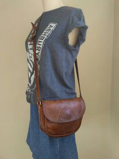 Distressed leather crossbody bag, small leather messenger bag, small boho festival tote