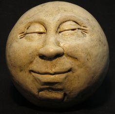 Man-in-the-Moon Garden Head, Antique White/waxy. $60.00, via Etsy.