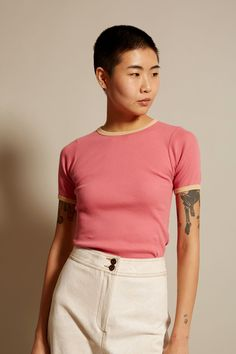 No.6 Lola Ribbed Tee In Pink with Camel