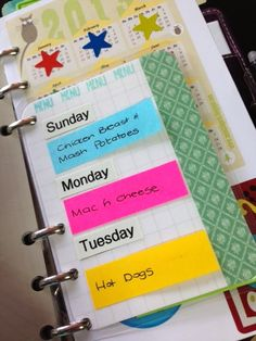 JoSoCrafty: Inside my Filofax Malden  This is the best idea I've seen yet! Make one page and change out the meals each week!