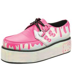 Omg i would wear the hell outta these Pink/Silver Hello Kitty Platform Shoes By T.U.K.