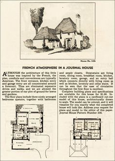 1935 French Eclectic House Plan - Ladies Home Journal - French cottage house plans - 1930s American Residential Architectural Style