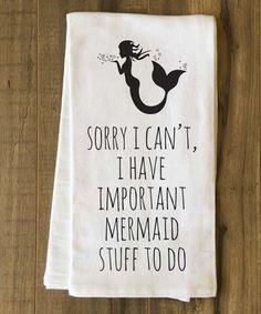 Love this 'Important Mermaid Stuff' Tea Towel on #zulily! #zulilyfinds