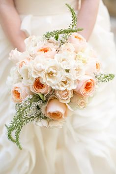 Ivory and Peach Bridal Bouquet | Light Love Weddings | TheKnot.com