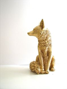 Hey, I found this really awesome Etsy listing at https://www.etsy.com/listing/236840088/gold-large-fox-animal-statue-in-gold