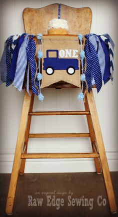 Little Blue Truck Highchair High Chair Birthday by RawEdgeSewingCo