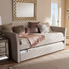 Baxton Studio Kassandra Modern and Contemporary Daybed with Guest Trundle Bed (Beige - Faux Leather/MDF), Kids Unisex Daybed With Trundle Bed, Upholstered Daybed, Daybed Bedding, Queen Daybed, Ikea Daybed, Daybed Room, Bedding Sets, Contemporary Fabric, Guest Rooms