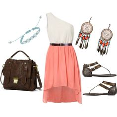 Peach, blue and brown, created by lizzie-boyette on Polyvore