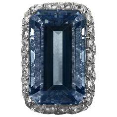 Ruser Aquamarine Diamond Ring 1960s
