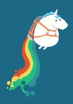 Fat Unicorn on Rainbow Jetpack by Budi Satria Kwan