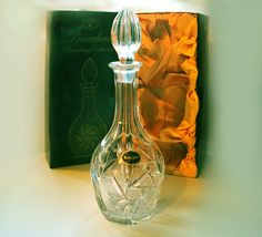Bohemia Crystal decanter as new in box labelled, Bohemian cut crystal Vintage decanter, lead crystal decanter, Whisky, Spirits wine decanter